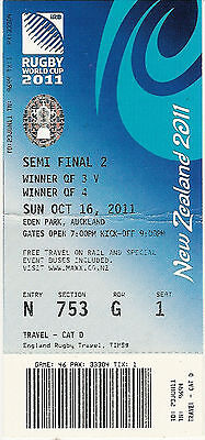 Australia v New Zealand 16 Oct 2011 Semi-Final 2 RUGBY WORLD CUP TICKET