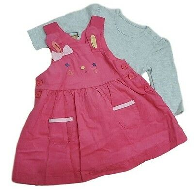 Baby Girls Dress Set Outfit Top Tshirt EX MOTHE-CARE Pinafore Corduroy Dungaree