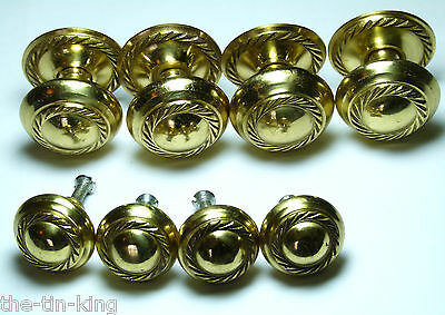 8X Antique Styled Rope Effect Brass Chest/drawer/door Handle Knobs 30 Mm