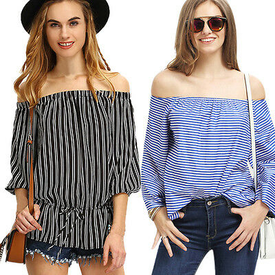Fashion Sexy Women Off The Shoulder Casual Loose Long Sleeve Tops Blouse T-Shirt