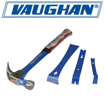 VAUGHAN 20oz Steel Curved Claw Nail Hammer Smooth Face R20 + Mini Pry Bar Set