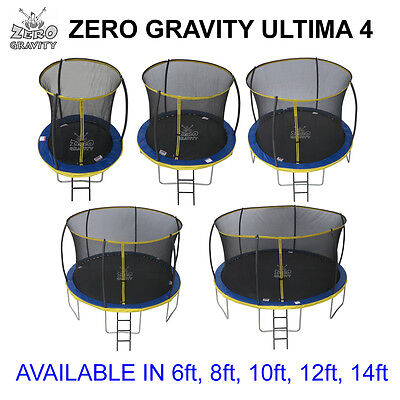 Zero Gravity Ultima 4 Trampoline, Safety Net Enclosure, Ladder  6 8 10 12 14 ft