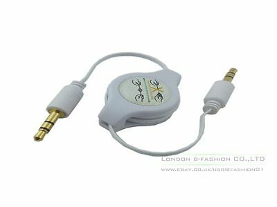 3.5mm Gold Retractable Audio Aux Cable for iPhone iPod Samsung MP3 in Car