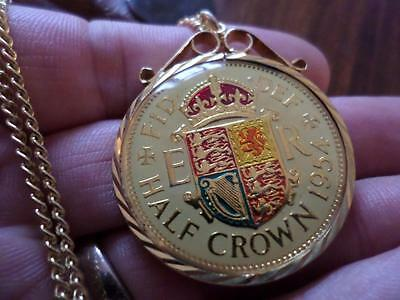 Vintage Enamelled Half Crown Coin 1954 Pendant & Necklace. Birthday Present