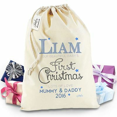 Twisted Envy Personalised Baby's First Christmas Stocking Christmas Santa Sack