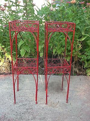 Pair Of 2 vintage Red scrolled hairpin retro Wrought Iron Plant Stands