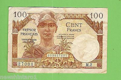 Post  Wwii France Occupied Germany / Austria 100  Franc  Banknote  M2 27001