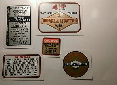 Briggs & Stratton engine decals 1963-77 minibike Edger 4-hp model 100202 Set 5
