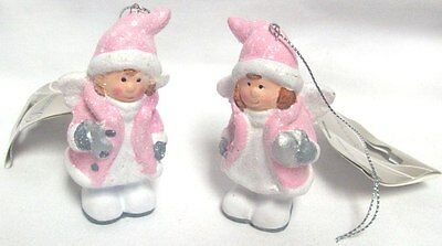 Set Of 2 Soft Pink Resin Christmas Angel Baubles Hanging Tree Decorations 8cm