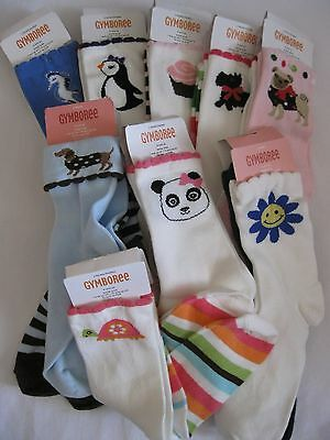 Gymboree Girls Socks 2 pair ankle 3-4 New Shoe size 9-10 Various Lines 3T 4T