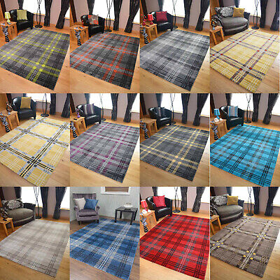 Modern Soft Tartan Rugs Highland Check Long Floor Runner Small Extra Large Cheap