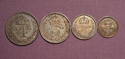 1934 KING GEORGE V SET MAUNDY COINS - 4d to 1d - Cased