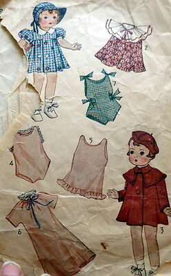 """GREAT VTG 1930s 16"""" DOLL CLOTHING SEWING PATTERN *TLC*"""