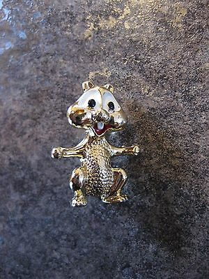 Chipmunk With A Smile  Brooch Gold Tone   Pin