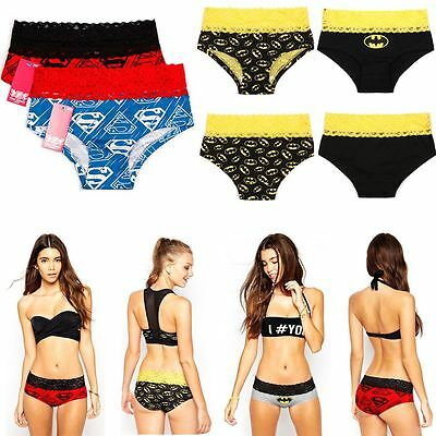 Women's Knickers Boxer Briefs Lace Underwear Lingerie Batman Panties