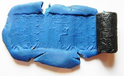 ZURQIEH - af570- ANCIENT BRONZE AGE STONE CYLINDER SEAL FROM JORDAN. 3000 B.C