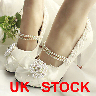 Princess Pearl Chain Women Lace Shoes Floral Wedding Bridal Shoes New High Heels