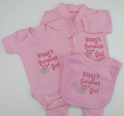Relative Gorgeous Girl Baby Grow Vest Bib Babies Pink White Cute Funny Gift Set