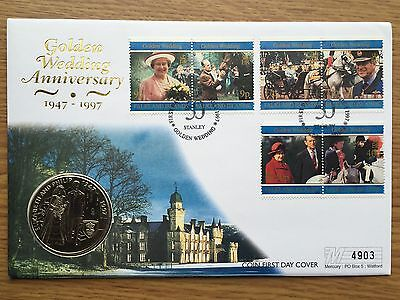 1997 £5 Falkland Islands QEII Golden Wedding Anniversary Coin Cover FDC PNC 1947