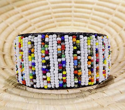 New African Maasai Wide Beaded Bangle Masai Massai jbmw134