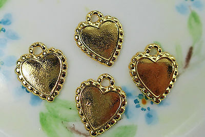 Vintage Heart Settings Brass Gold Plated Connectors Charms NOS 17x14mm #1121