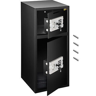 Double Door Digital Safe Depository Drop Box Safes Cash Office Security Lock New