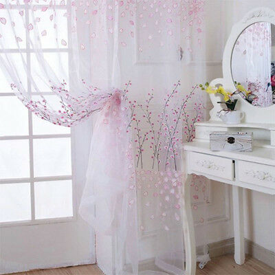Pretty Voile Screening Curtains Sheer Drape Panel Wintersweet Pattern for Room