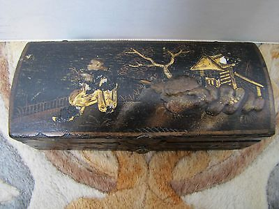 Antique Chinese Small Hand-Painted Black Lacquer Storage Box.