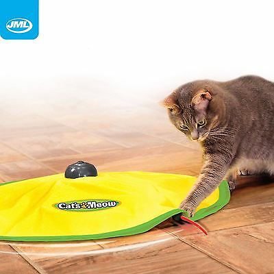 JML Cat's Meow Motorised Revolving Fun Play Toy Mouse Wand Tail Indoor Exercise