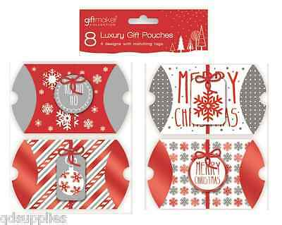 8 Red & Silver Foiled Christmas Gift Pouches Box Boxes Wrapping Jewellery POPG