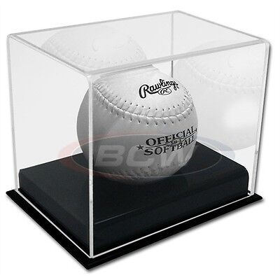 New Deluxe Softball Display Case Holder Black Base with Ball Cradle Acrylic