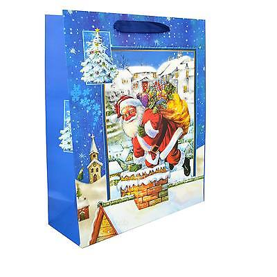 1 Small Blue Christmas Gift Bag 3D Decorative Glitter Paper Bag for Party Gifts