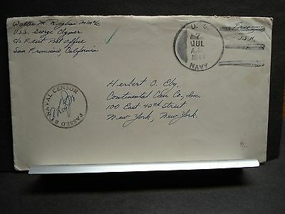 USS GEORGE CLYMER APA-27 Naval Cover 1944 Censored WWII Sailor's Mail