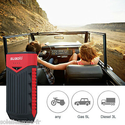 Suaoki Voiture Jump Starter Booster Batterie 12000mAh Chargeur LED Auto urgence