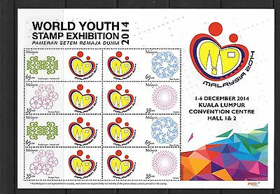Malaysia 2014 World Youth Stamp Exhibition Sheetlet  Mnh