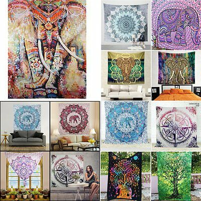 Indian Hippie Wall Hanging Queen Elephant Mandala Tapestry Bedspread Boho Throw
