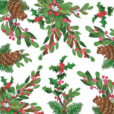 "CHRISTMAS HOLLY PINE CONES RED 3-PLY 20 PAPER NAPKINS SERVIETTES 13""x13""–33X33CM"