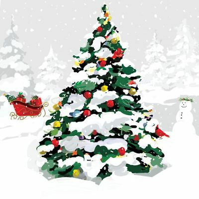 "CHRISTMAS TREE SLEIGH GREEN 3-PLY 20 PAPER NAPKINS SERVIETTES 13""x13""–33X33CM"