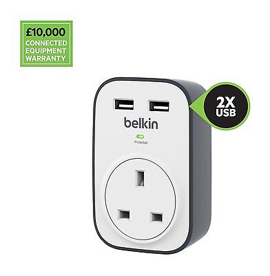 Belkin SurgeCube 1 Way Surge Protector with 2 x 2.4A Shared USB Charging BSV103