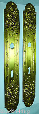 Pair Antique Pressed Brass Fancy Door Finger Plate Rococco Scrolls Art Nouveau