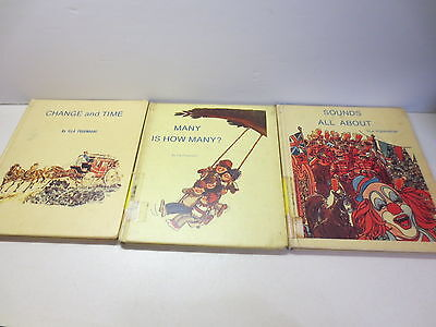 Lot of three hardcover books by Illa Podendorf Change and Time, Sounds, Many Is