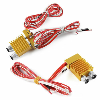 Extruder 0.4mm Dual / Single Nozzle Hot End Multi Extrusion 1.75mm Mixed Color