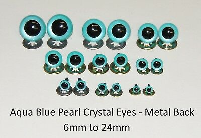 AQUA BLUE PEARL Crystal Eyes with METAL BACKS -Teddy Bear Soft Toy Animal Safety