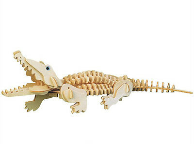 New Wood Assembly DIY Toy for 3D Wooden Model Puzzles Animals Crocodile