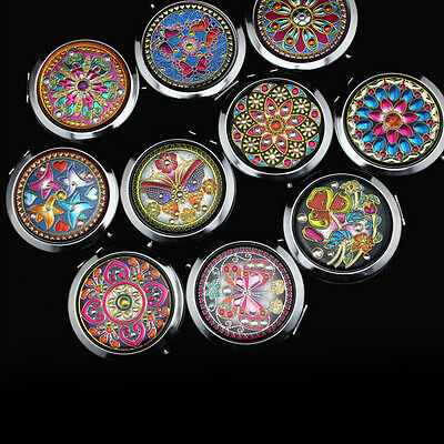 Crystal Folding Round Pocket Compact Makeup Cosmetic Mirror Portable Useful