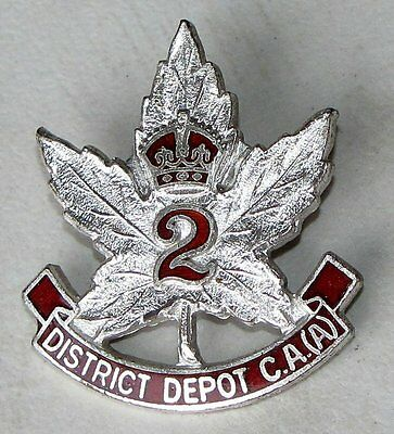 CANADA ARMY  Royal Canadian Artillery (A) District Depot # 2  Sterling Pin WWI