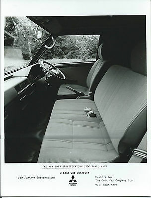 Mitsubishi L300 Panel Van 3 Seat Cab Interior 1987 Original Press Photograph