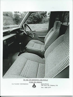 Mitsubishi L200 Pick Up 2 Seat Cab Interior 1987 Original Press Photograph