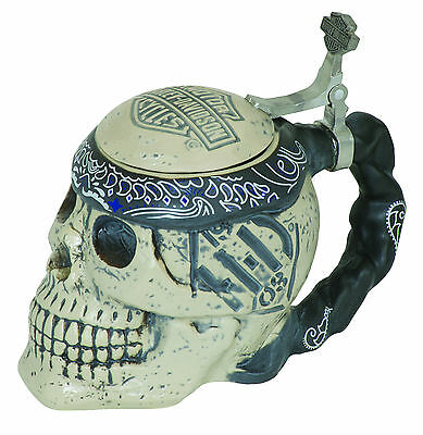 Harley-Davidson® Bar & Shield Custom Ceramic 24oz Skull Beer Stein HDL-18606