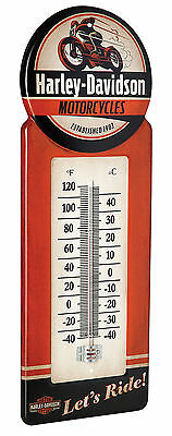 Harley-Davidson® Vintage Style Motorcycle Metal In/Outdoor Thermometer HDL-10098